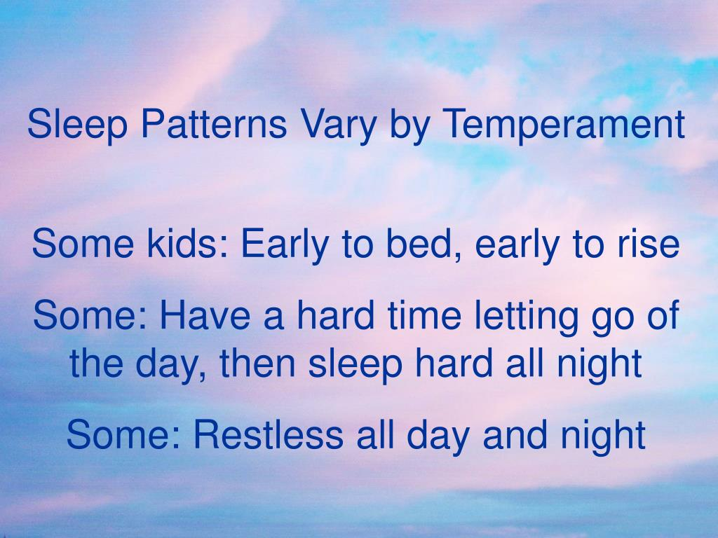 Sleep Patterns Vary by Temperament
