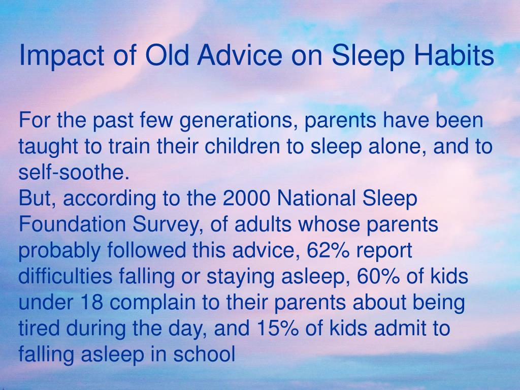 Impact of Old Advice on Sleep Habits