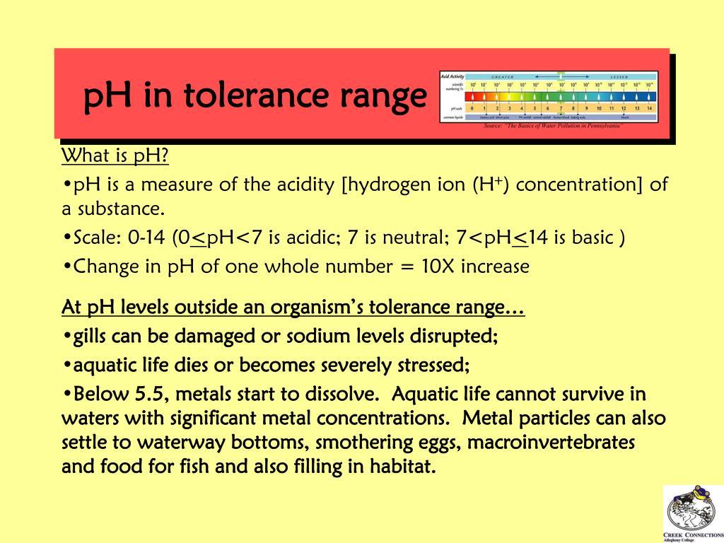 pH in tolerance range