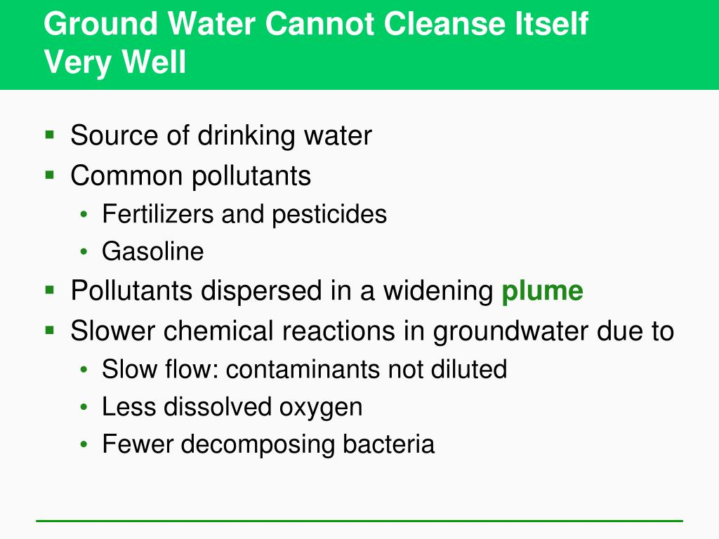 Ground Water Cannot Cleanse Itself