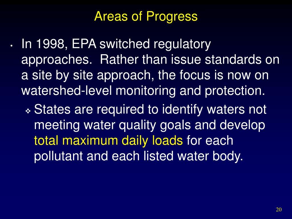 Areas of Progress