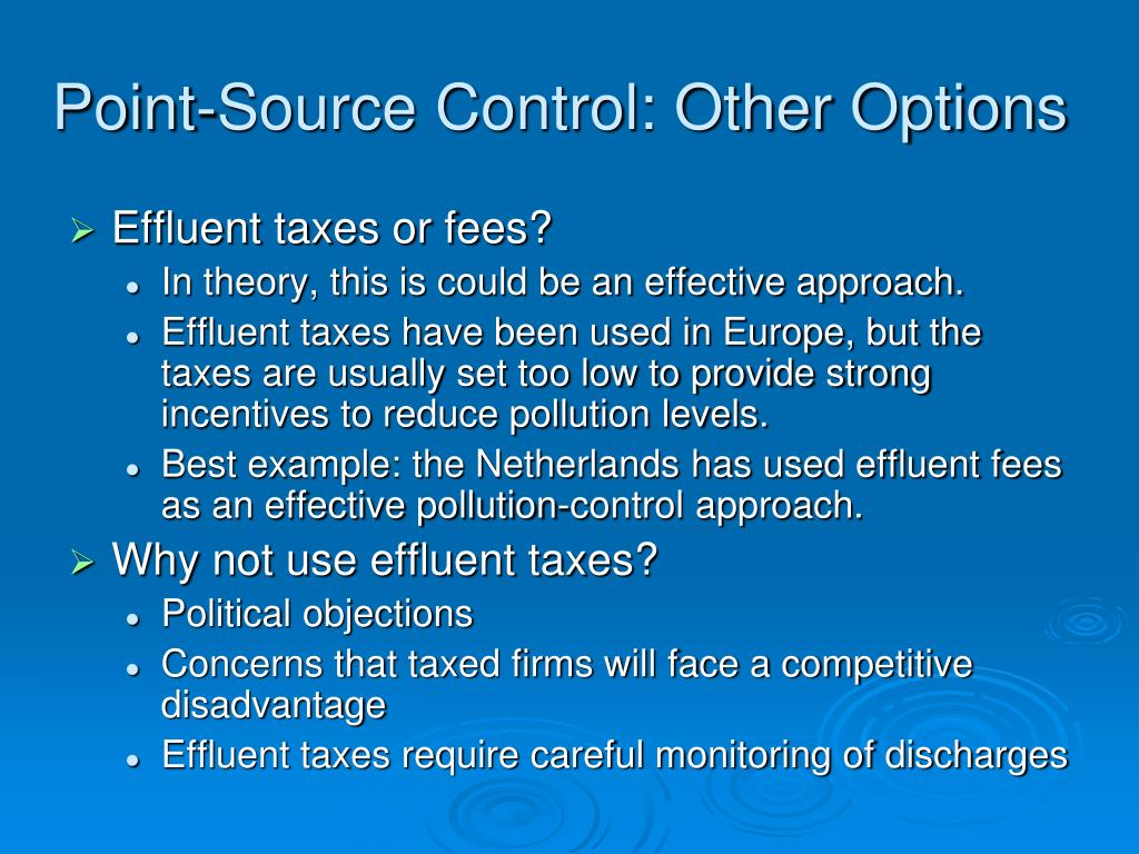 Point-Source Control: Other Options