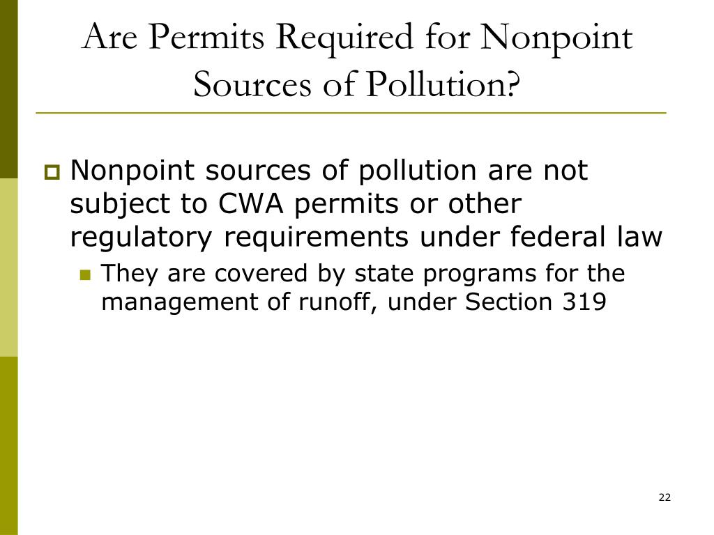 Are Permits Required for Nonpoint Sources of Pollution?