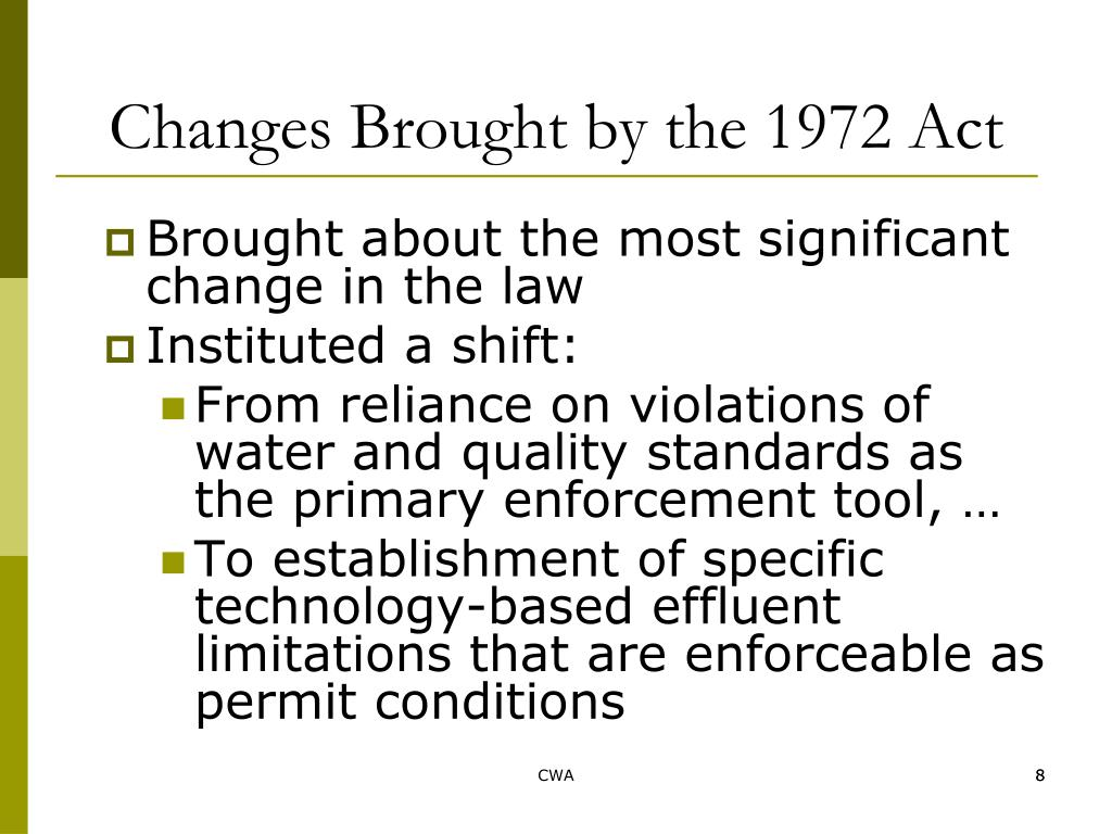 Changes Brought by the 1972 Act