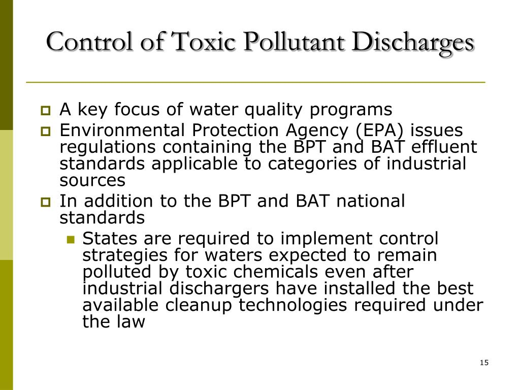 Control of Toxic Pollutant Discharges