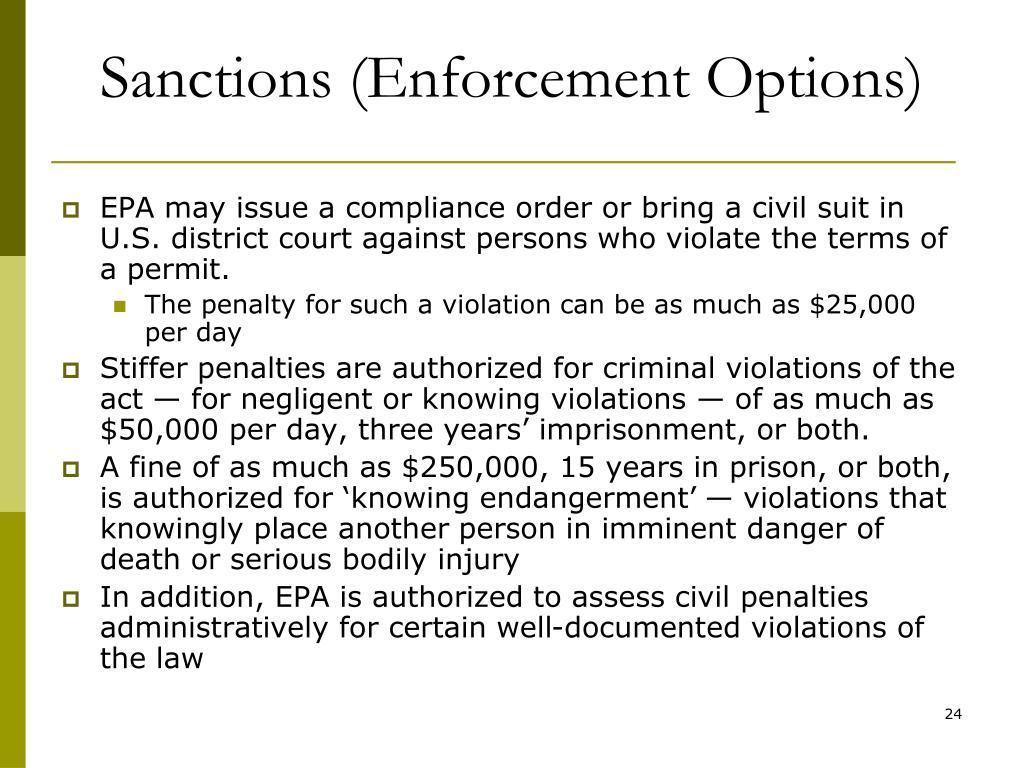 Sanctions (Enforcement Options)