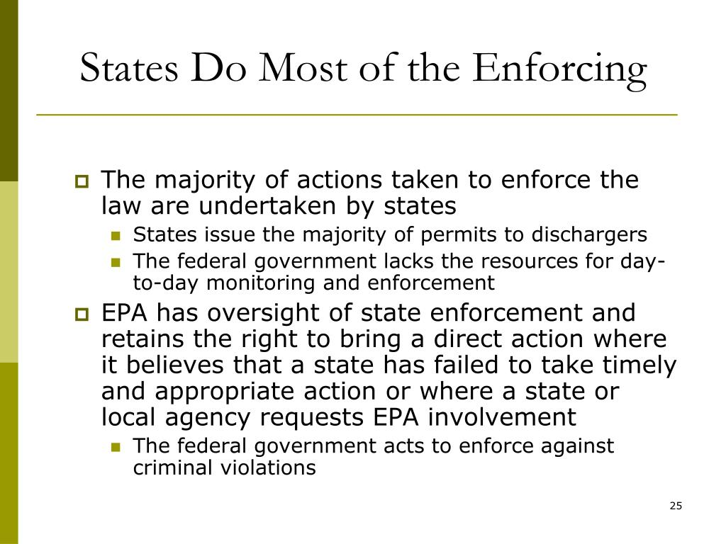 States Do Most of the Enforcing