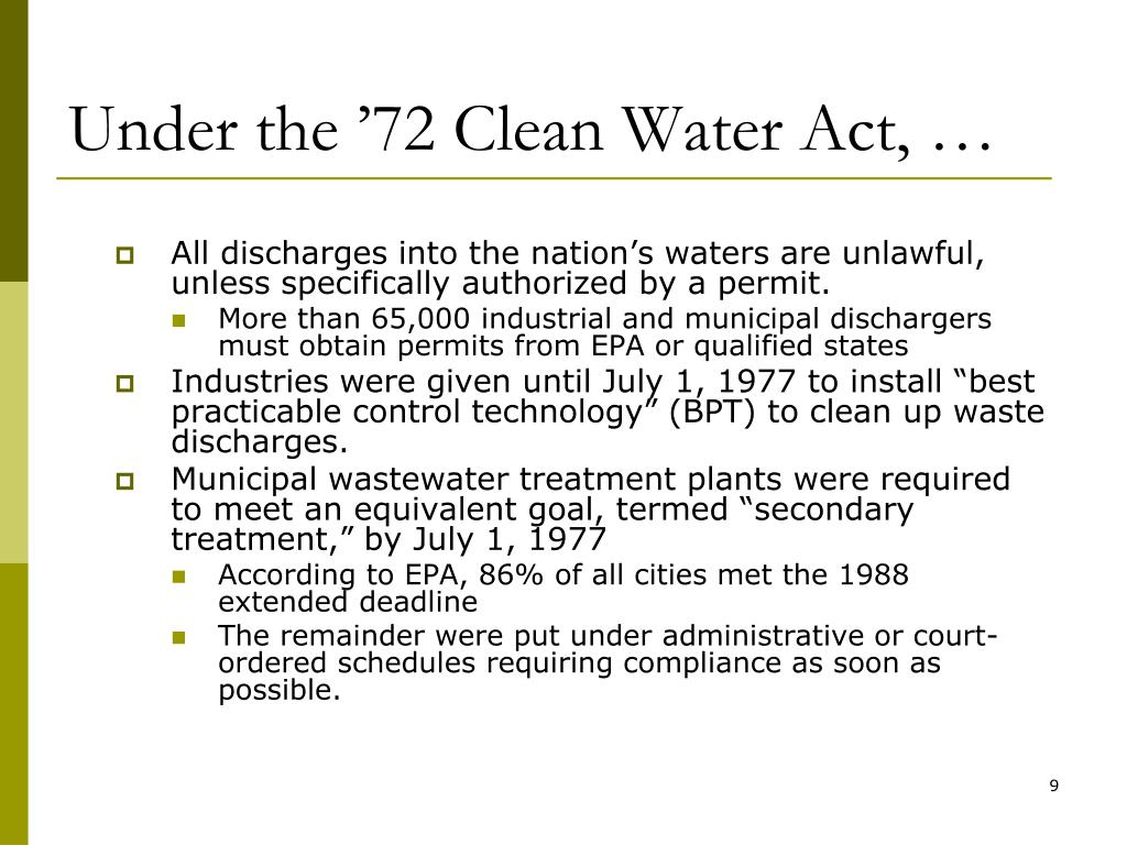 Under the '72 Clean Water Act, …