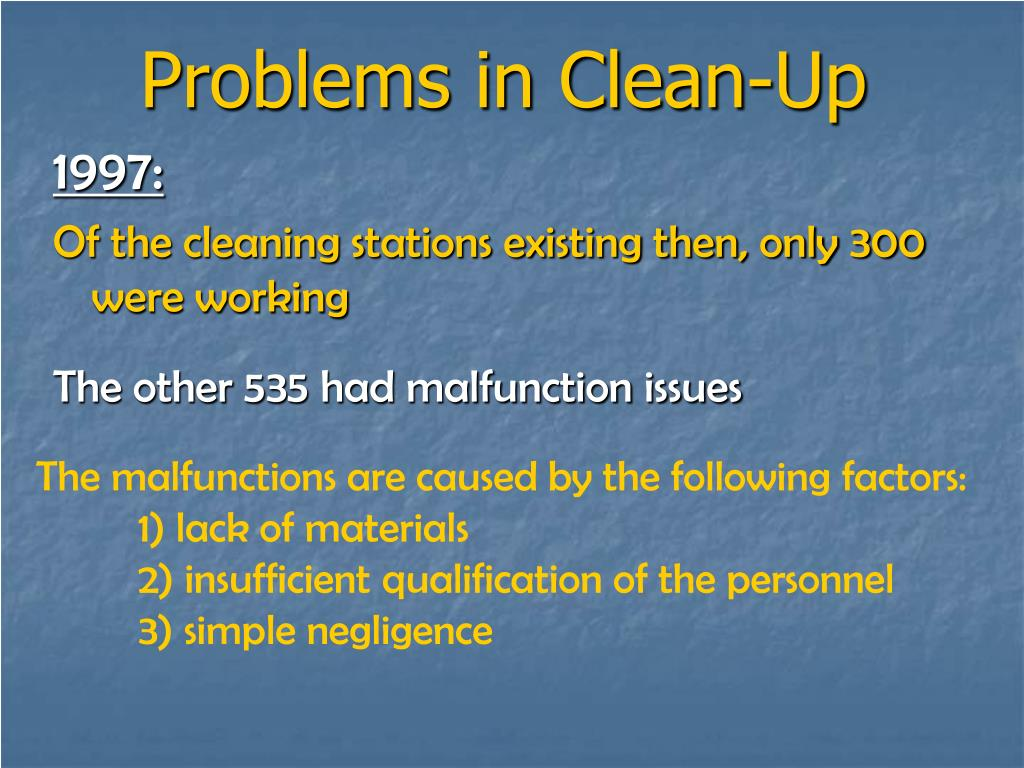 Problems in Clean-Up