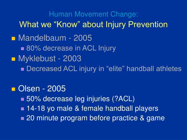 Human Movement Change: