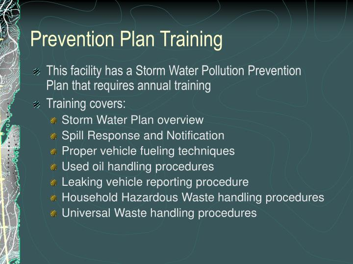 Prevention plan training