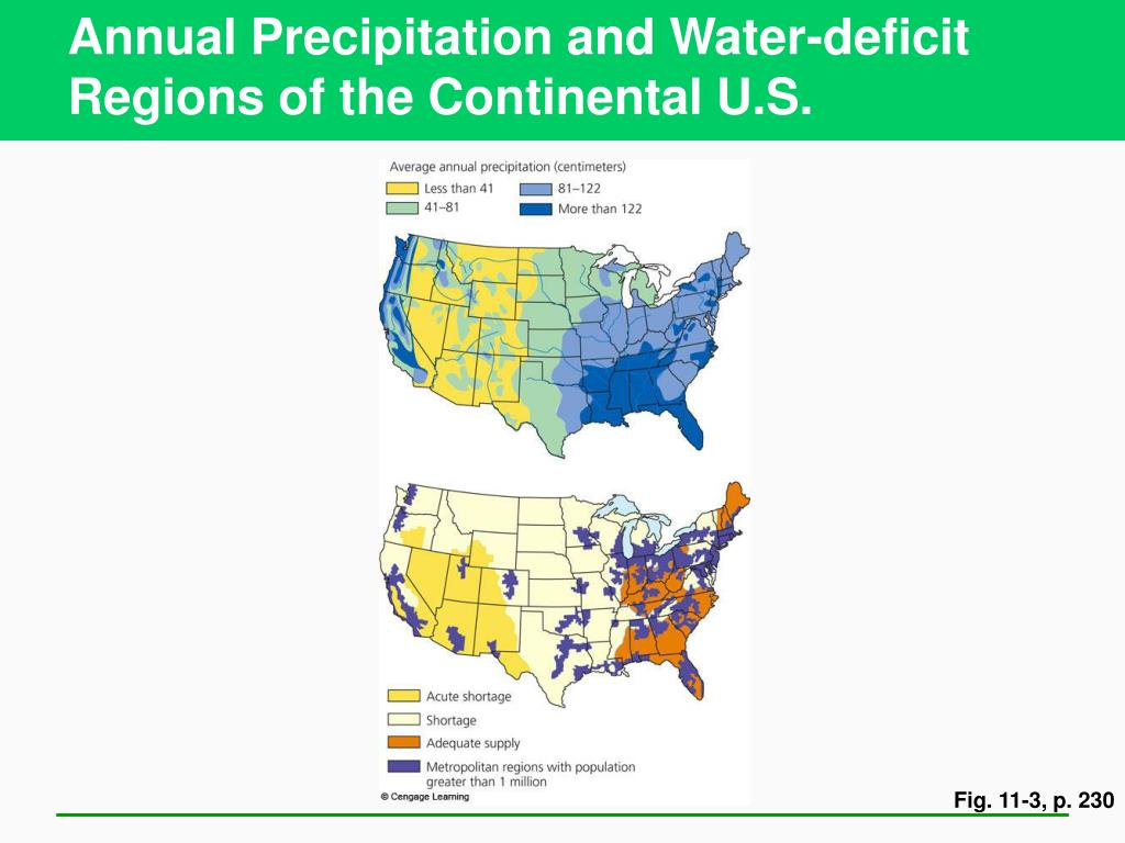 Annual Precipitation and Water-deficit Regions of the Continental U.S.