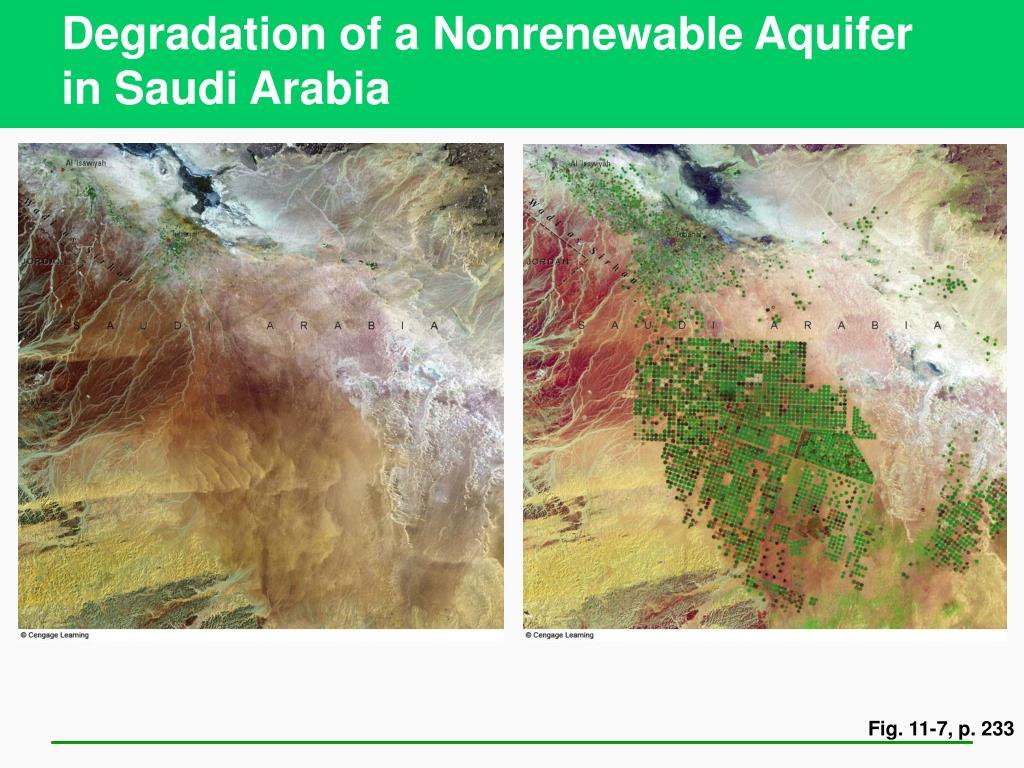 Degradation of a Nonrenewable Aquifer in Saudi Arabia