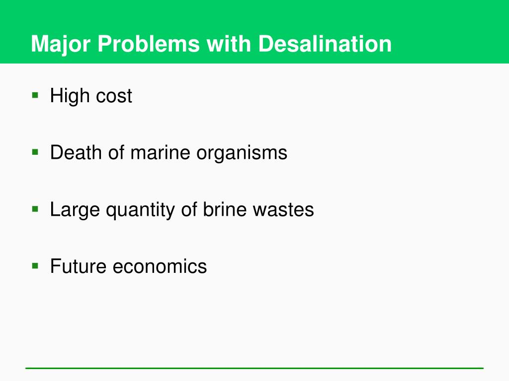 Major Problems with Desalination