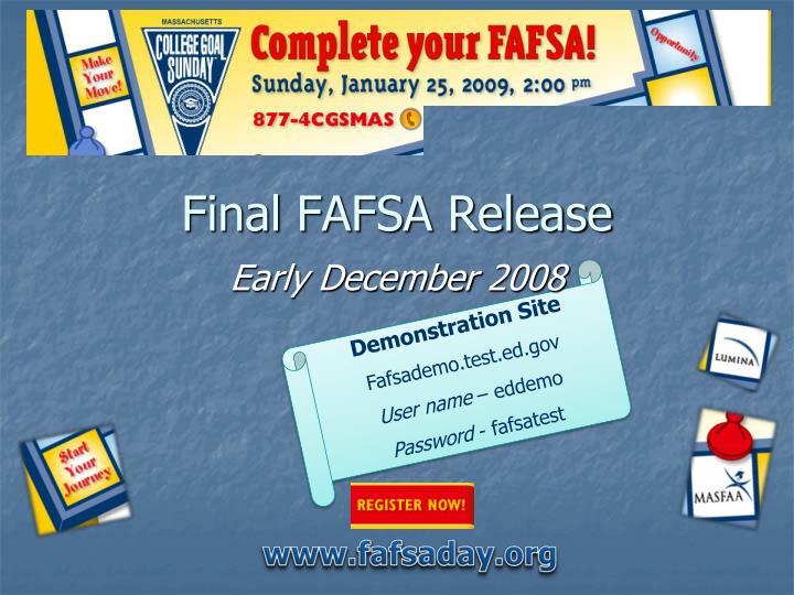 Final FAFSA Release