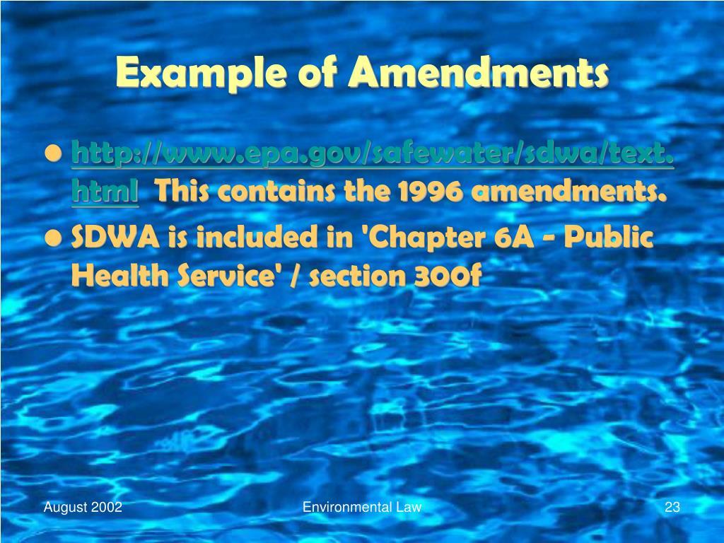 Example of Amendments