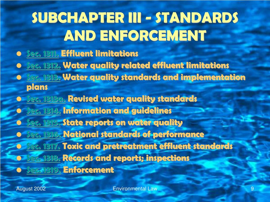 SUBCHAPTER III - STANDARDS AND ENFORCEMENT
