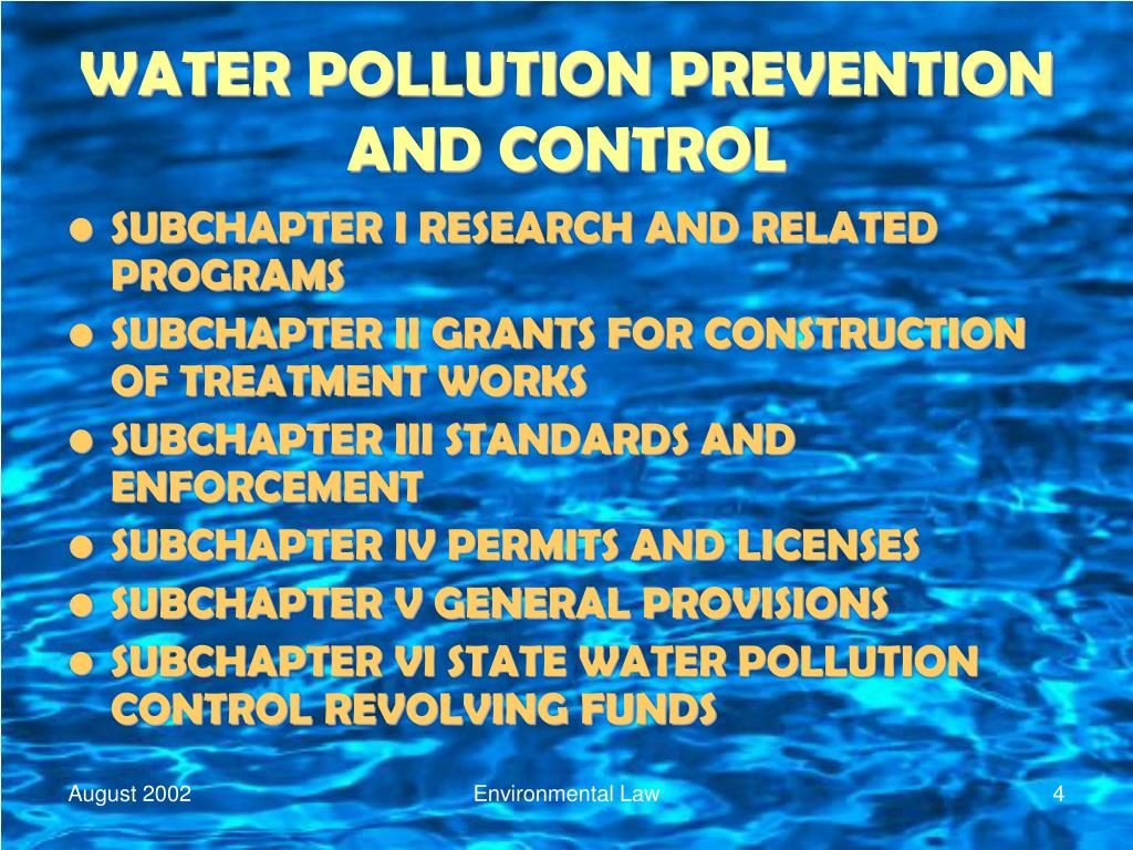 WATER POLLUTION PREVENTION AND CONTROL