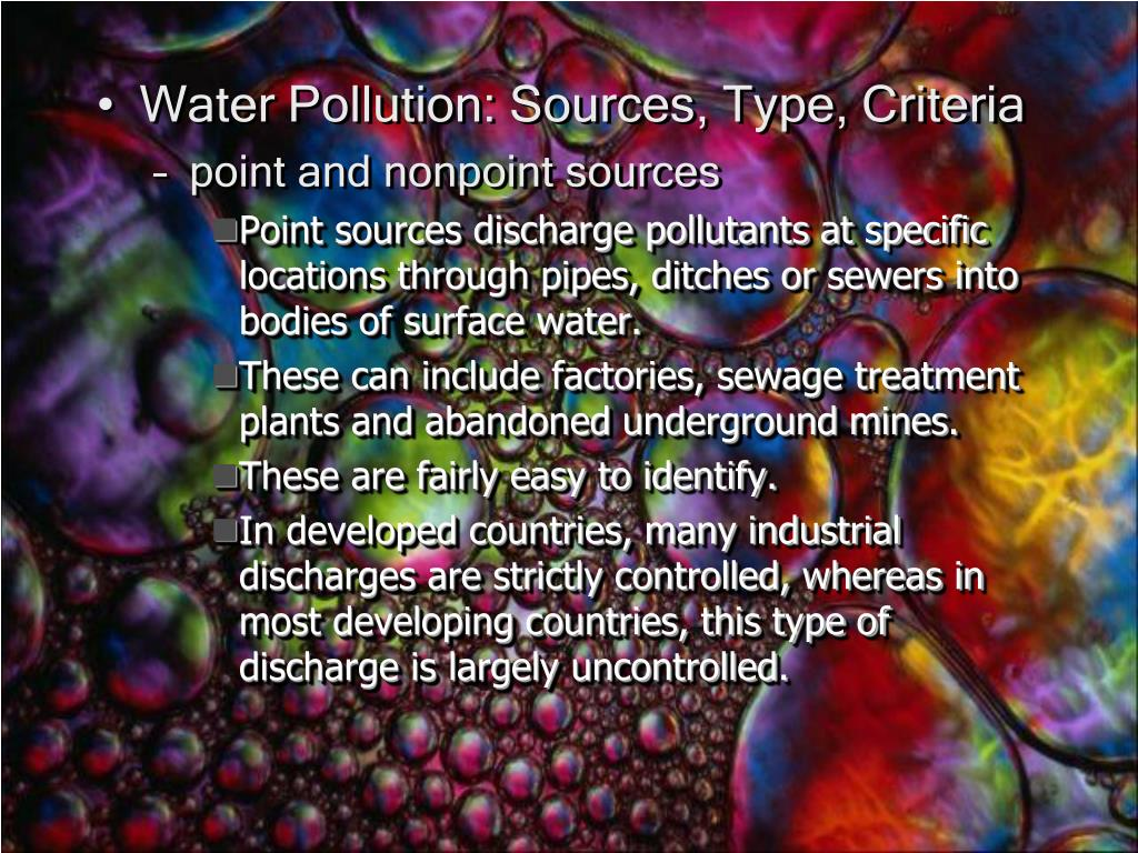 Water Pollution: Sources, Type, Criteria