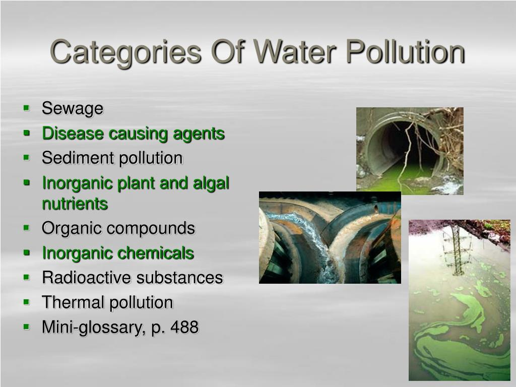 Categories Of Water Pollution