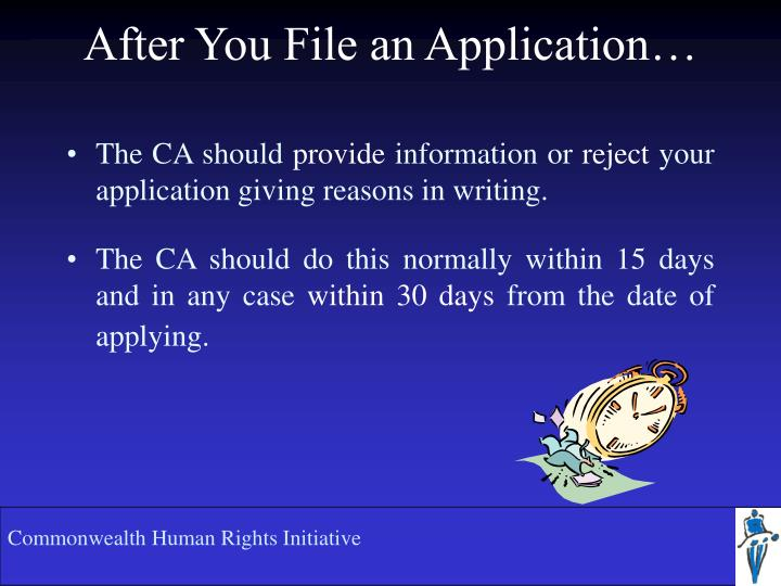 After You File an Application…