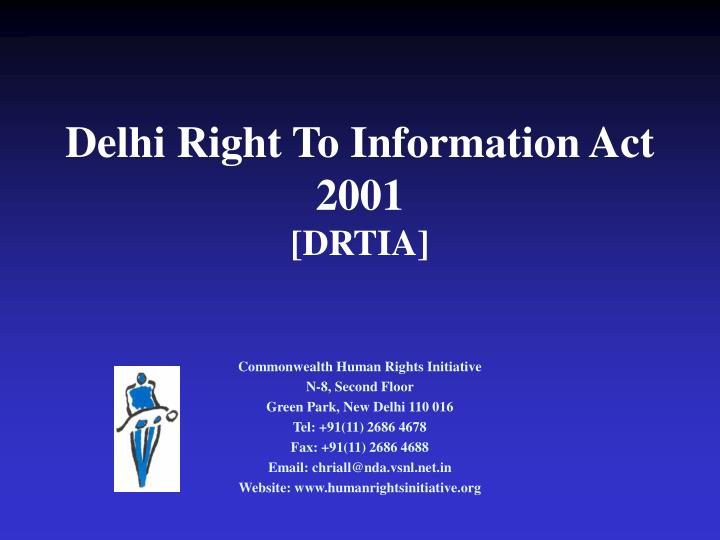 Delhi Right To Information Act 2001