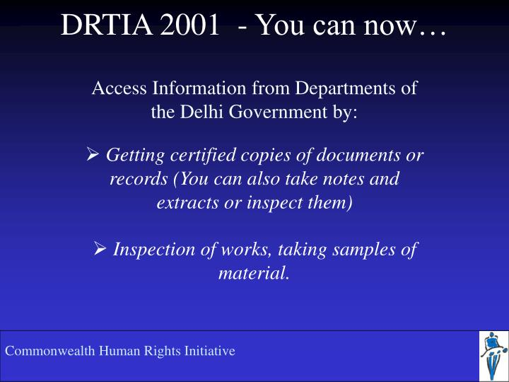 Drtia 2001 you can now