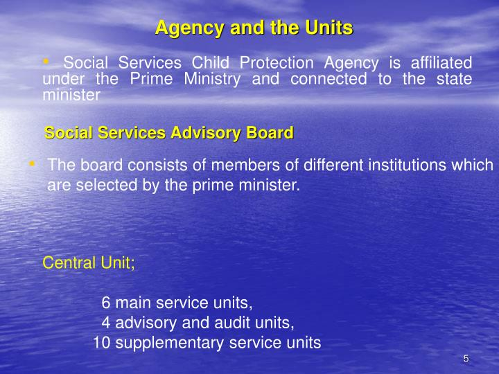 Agency and the Units