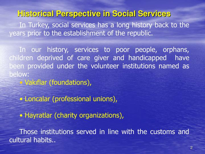 Historical perspective in social services