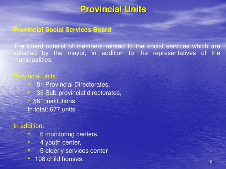 Provincial Units