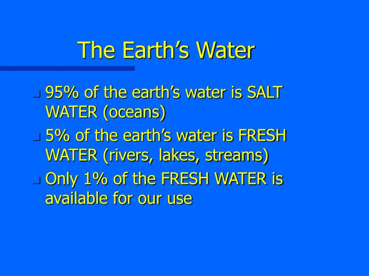 The earth s water