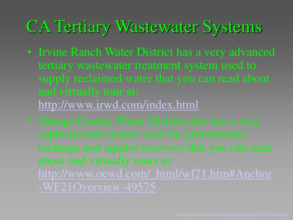 CA Tertiary Wastewater Systems
