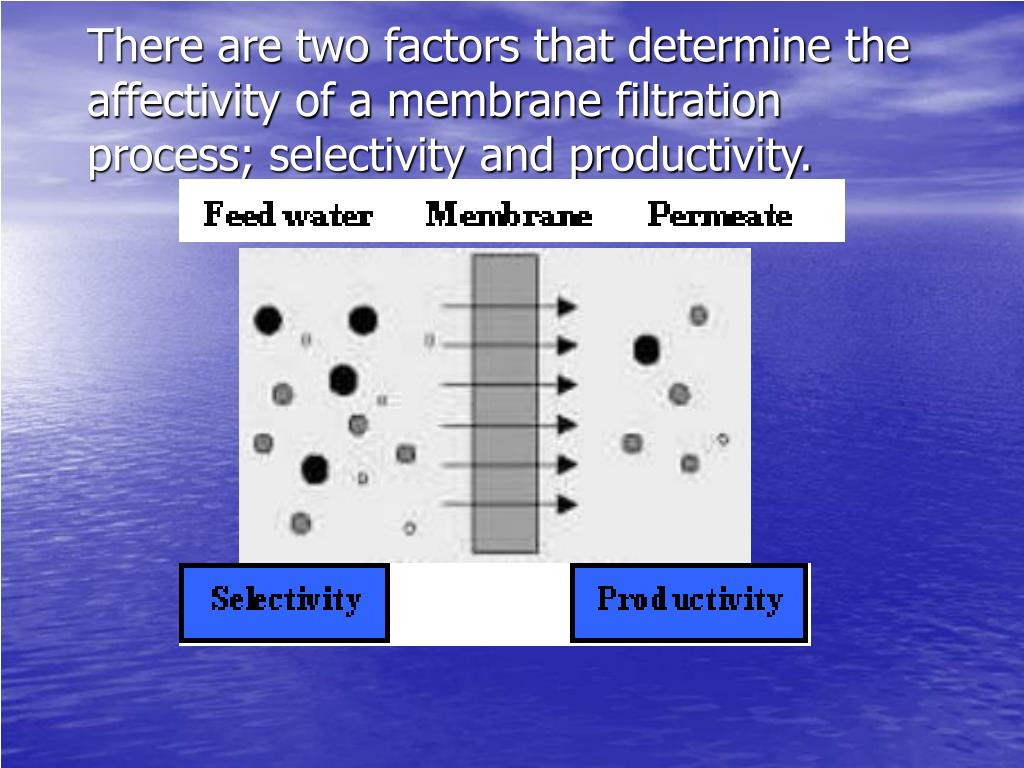 There are two factors that determine the affectivity of a membrane filtration process; selectivity and productivity.