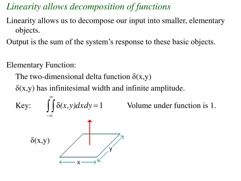 Linearity allows decomposition of functions