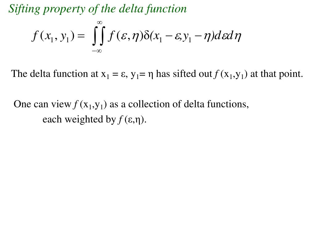Sifting property of the delta function