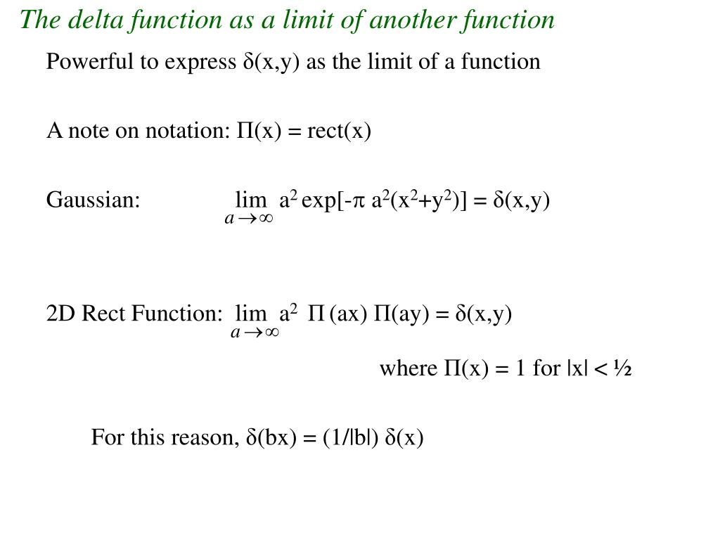 The delta function as a limit of another function