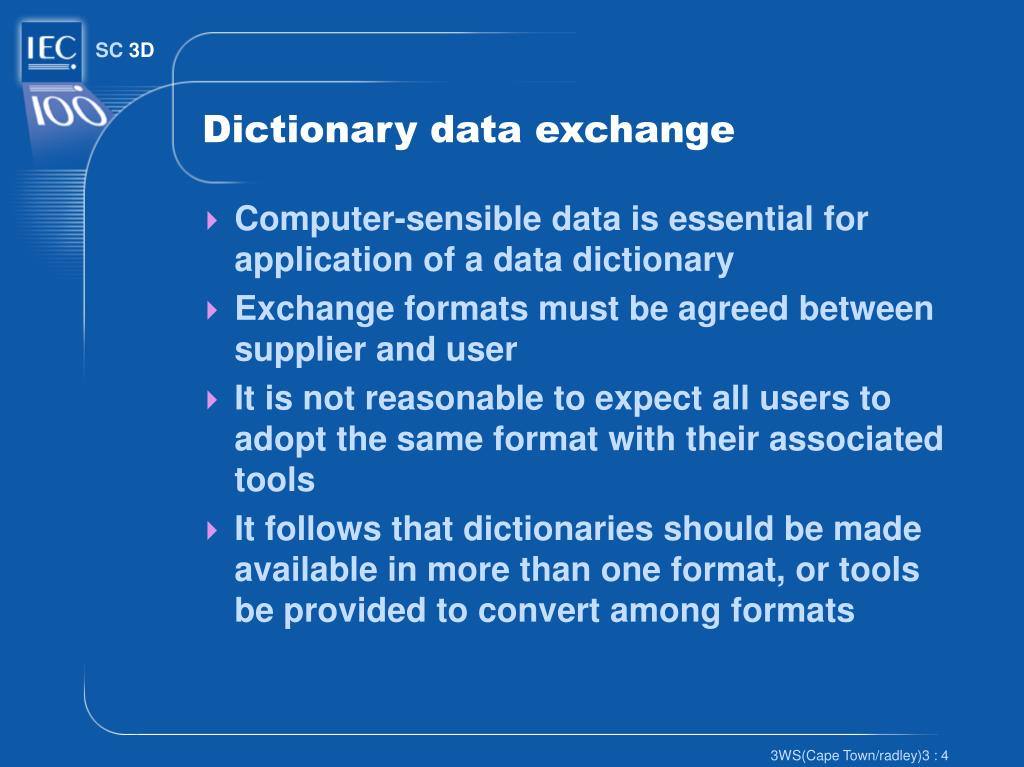 Dictionary data exchange