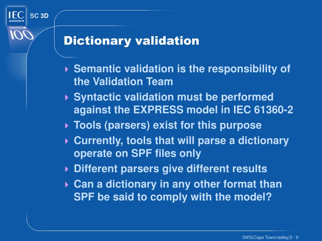 Dictionary validation