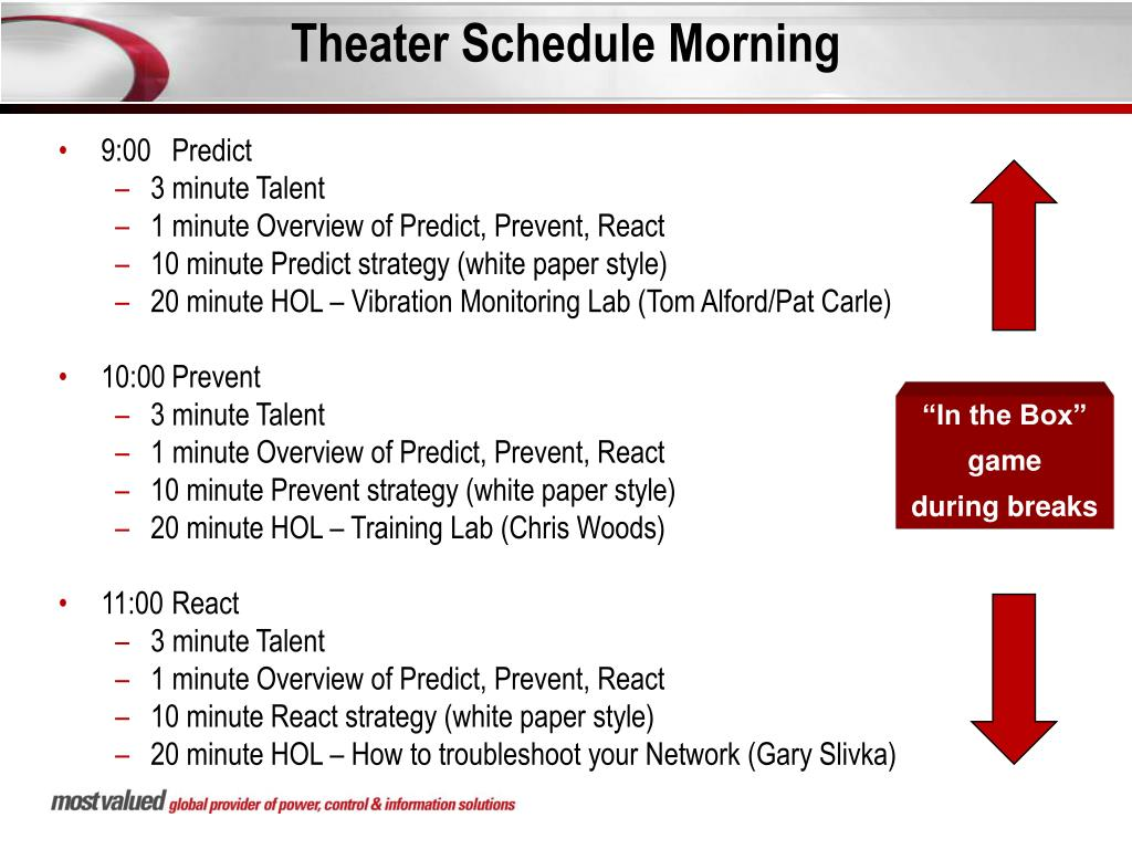 Theater Schedule Morning