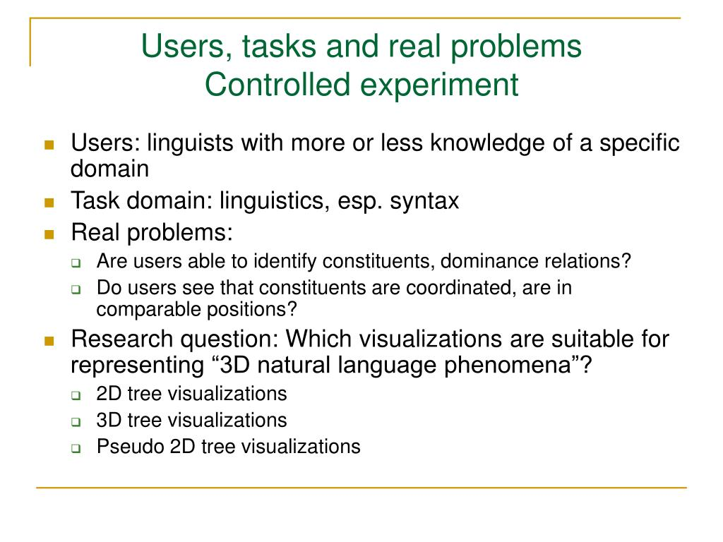 Users, tasks and real problems