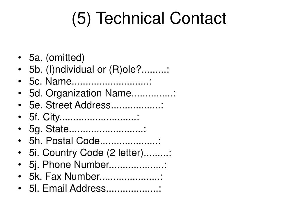(5) Technical Contact