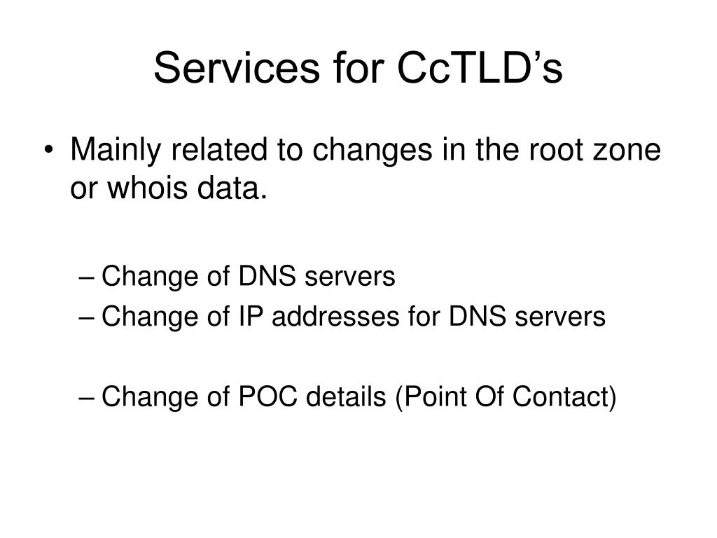 Services for CcTLD's