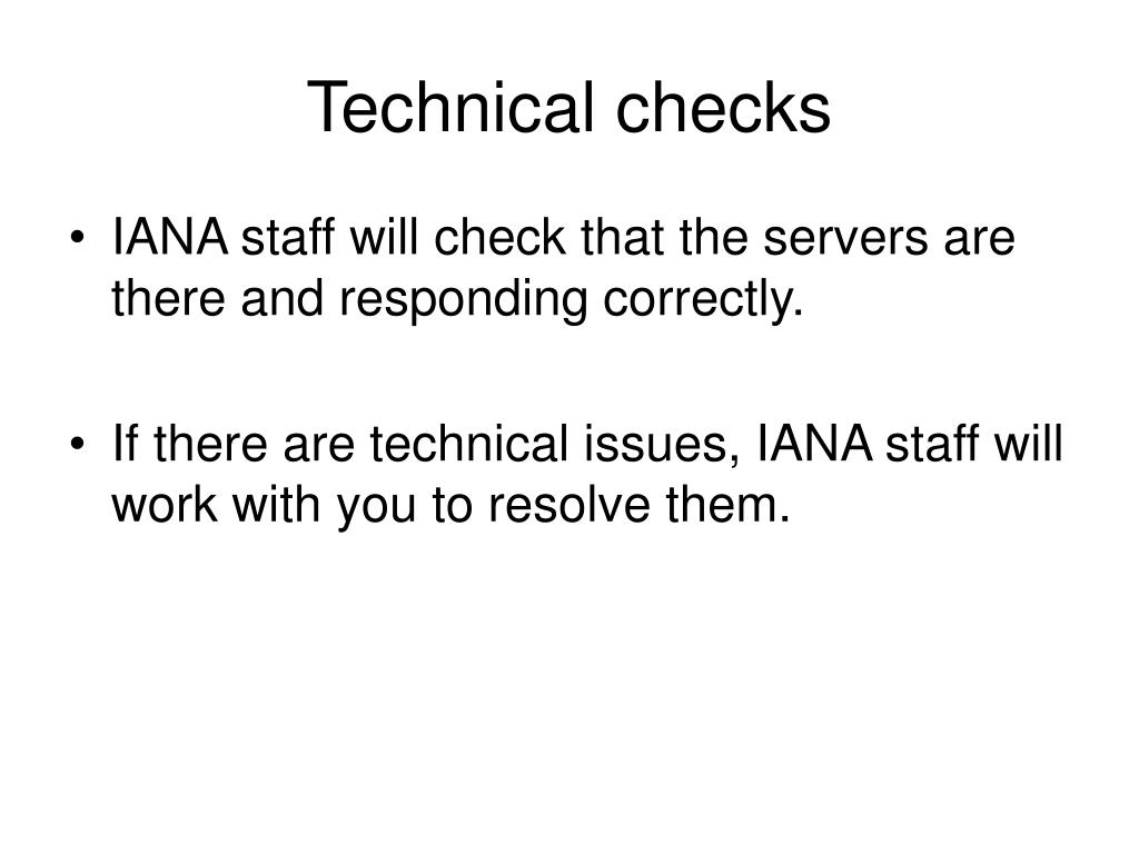 Technical checks