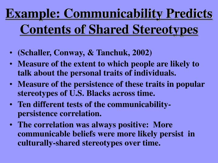 Example: Communicability Predicts Contents of Shared Stereotypes