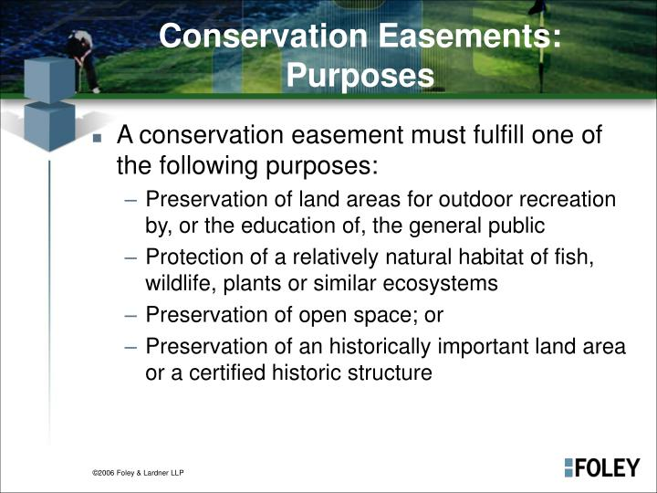 Conservation Easements: Purposes