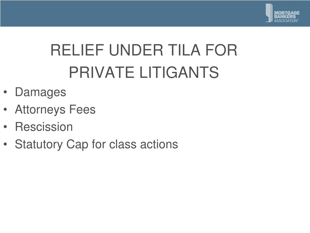 RELIEF UNDER TILA FOR