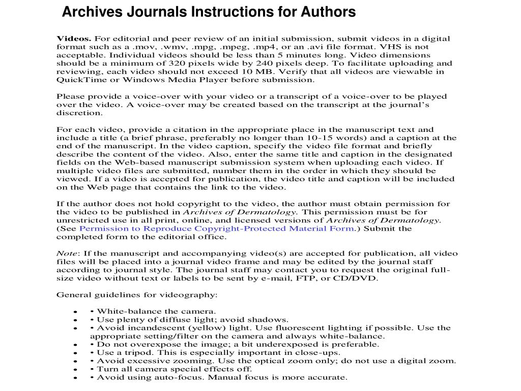 Archives Journals Instructions for Authors