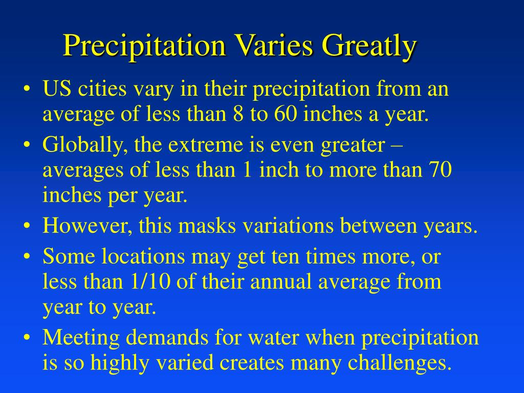 Precipitation Varies Greatly