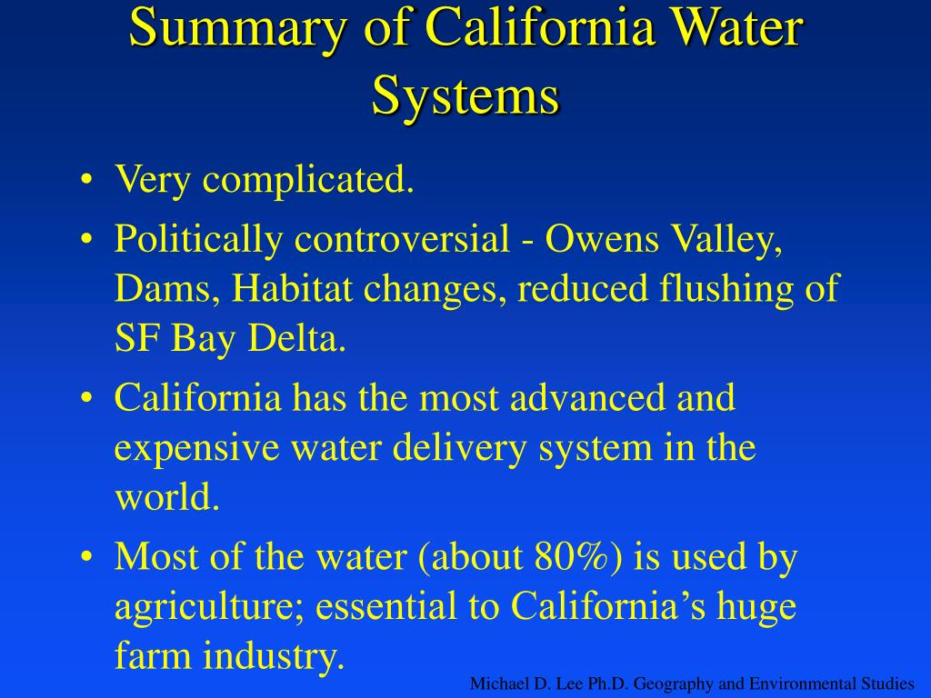 Summary of California Water Systems