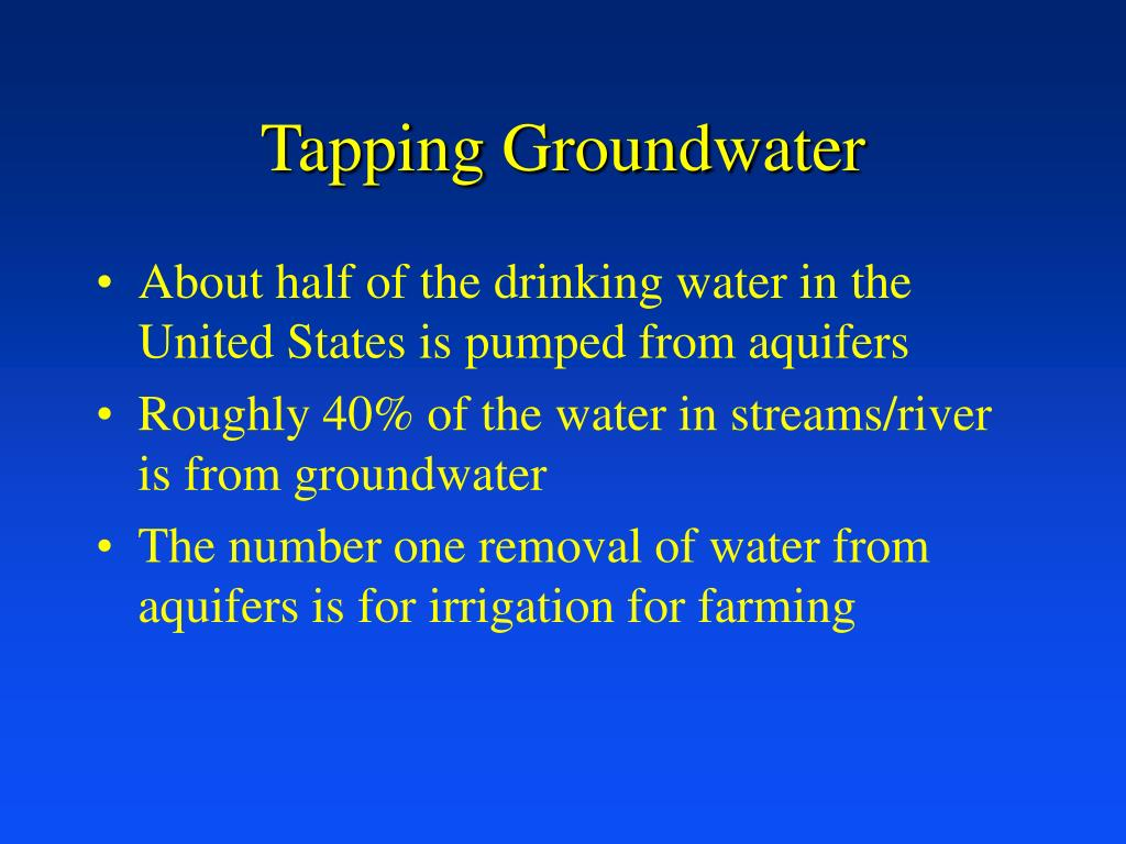 Tapping Groundwater